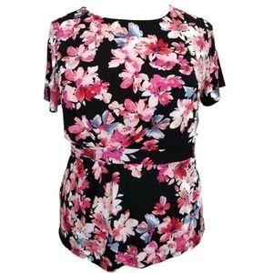 Liz Claiborne 0X XL Blouse Floral Pink Black